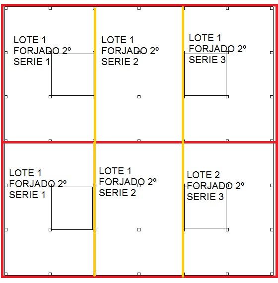 Distribución lotes y series forjado segundo