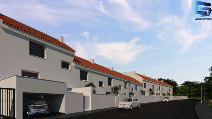 Vista fachada principal desde entrada garaje 10 viviendas en hilera
