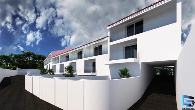 Vista fachada posterior 10 viviendas en hilera